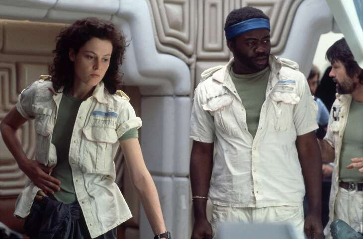 "This photo released by Twentieth Century Fox shows Sigourney Weaver, left, as Ellen Ripley, and Yaphet Kotto, as Parker, in a scene from the 1979 film, ""Alien."" (AP Photo/Twentieth Century Fox)"