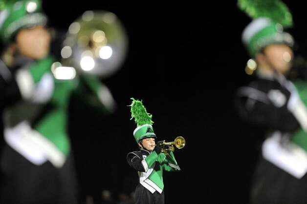 The Schalmont Marching Band performs at halftime during their football game against Ravena on Friday, Oct. 3, 2014, at Schalmont High in Rotterdam, N.Y. (Cindy Schultz / Times Union) Photo: Cindy Schultz / 00028779A
