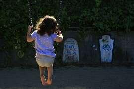 Natasha Olascoaga, age 3, swings on the swing set at Piexotto Playground in the Corona Heights neighborhood in San Francisco, Calif., on Thursday October 2, 2014.