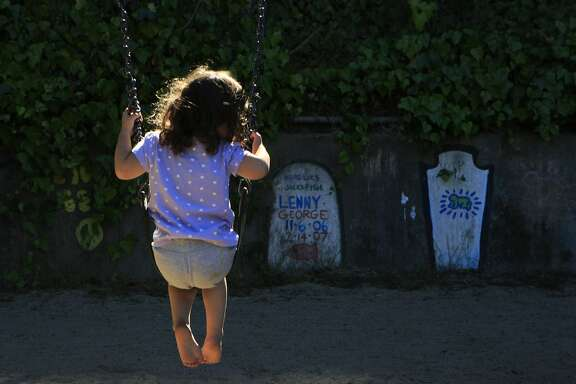 Natasha Olascoaga, age 3, swings on the swing set at Piexotto Playground in the Corona Heights neighborhood in San Francisco, Calif., on Thursday October 2, 2014.