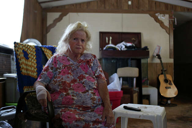 Carol Thompson, who is being forced out of Mission Trails mobile home park after living there for 10 years, sits in her trailer on Wednesday, August 27, 2014. Carol and her son plan to move their mobile home to Lackland Village next week. Photo: Lisa Krantz / SAN ANTONIO EXPRESS-NEWS