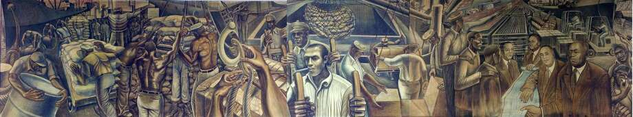 John Biggers captured the history of African-American longshoremen on the Houston docks in 1957. His painting has been on the wall of a union hall ever since. Photo: Courtesy Of Houston Arts Allianc / courtesy of Houston Arts Allianc