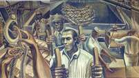 John Biggers captured the history of African-American longshoremen on the Houston docks in 1957. His painting has been on the wall of a union hall ever since.