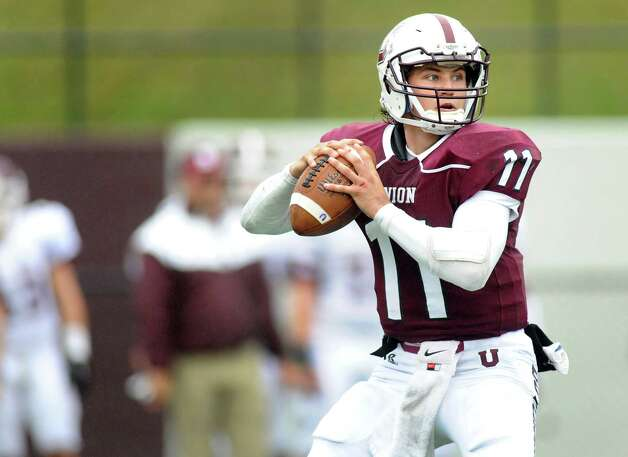 Union's quarterback Connor Eck looks to pass during their football game against Springfield on Saturday, Oct. 4, 2014, at Union College in Schenectady, N.Y. (Cindy Schultz / Times Union) Photo: Cindy Schultz / 10028825A