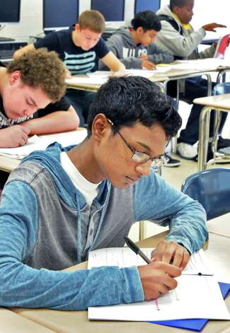 Ninth-grader Brandon Dupa at work in his English Language Arts class at Schenectady High School Thursday Sept. 25, 2014, in Schenectady, NY.  (John Carl D'Annibale / Times Union) Photo: John Carl D'Annibale / 00028753A