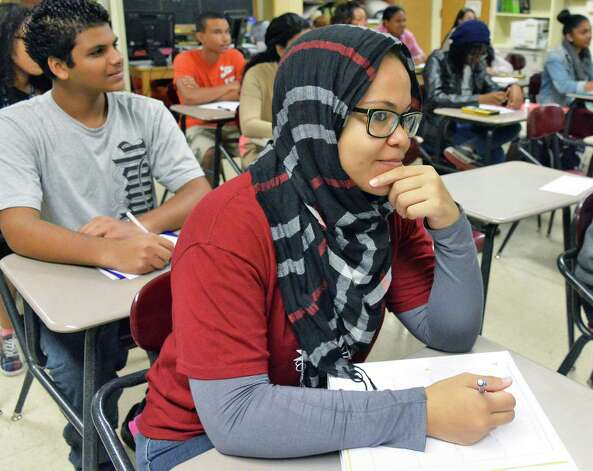 Eleventh grader Yasra Taylor in her trigonometry class at Schenectady High School Thursday Sept. 25, 2014, in Schenectady, NY.  (John Carl D'Annibale / Times Union) Photo: John Carl D'Annibale / 00028753A