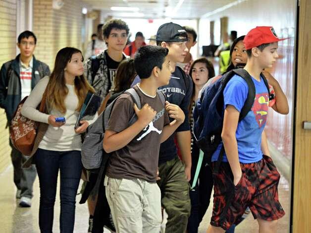 Students make their way to classes at Niskayuna High School Friday Sept. 26, 2014, in Niskayuna, NY.  (John Carl D'Annibale / Times Union) Photo: John Carl D'Annibale / 00028756A