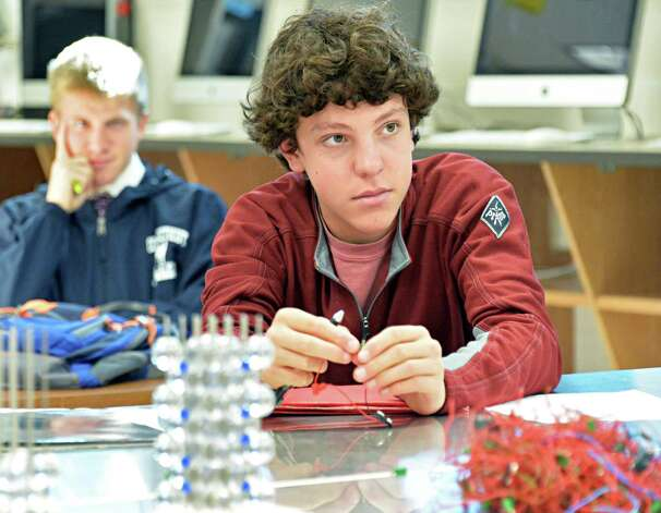 Tenth grader Max Hooper during a nano scale science and engineering class at Niskayuna High School Friday Sept. 26, 2014, in Niskayuna, NY.  (John Carl D'Annibale / Times Union) Photo: John Carl D'Annibale / 00028756A