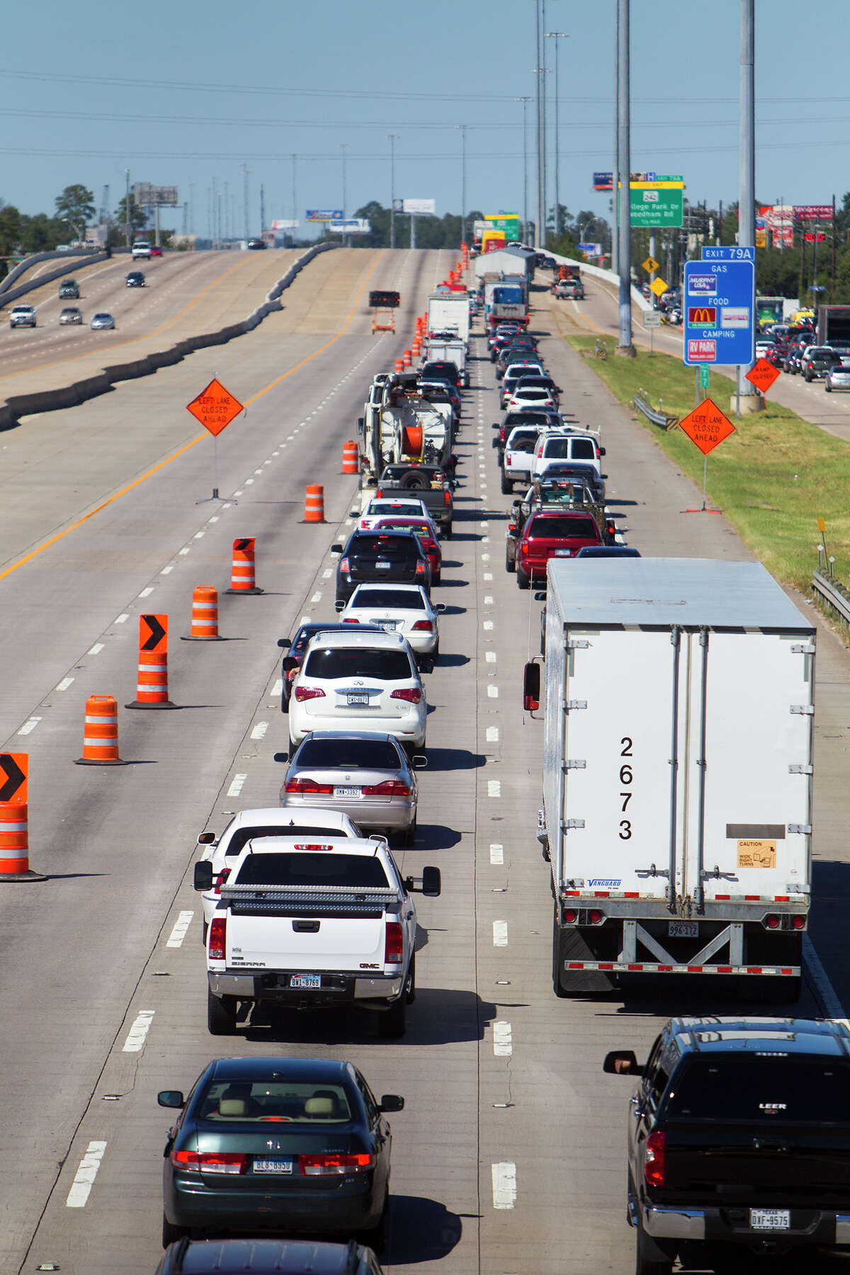 Traffic backs up along Interstate 45 near Lake Woodlands Drive on Oct. 4 in Conroe during construction. Transportation officials estimate Texas needs $5 billion more annually than it currently spends on highways.