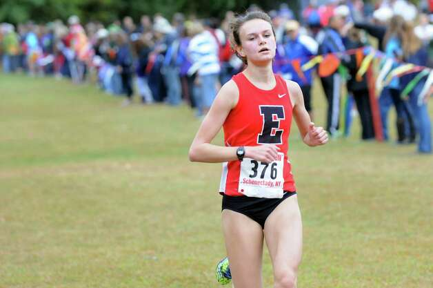 Emma Willard's Courtney Breiner comes in second in the Girls' Division I cross country Grout Run on Saturday, Oct. 4, 2014, at Central Park in Schenectady, N.Y. (Cindy Schultz / Times Union) Photo: Cindy Schultz / 00028844A