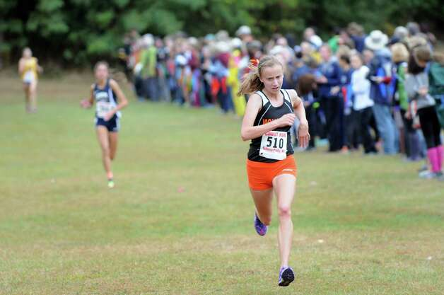 Mohonasen's Cara Sherman, right, comes in third in the Girls' Division I cross country Grout Run on Saturday, Oct. 4, 2014, at Central Park in Schenectady, N.Y. (Cindy Schultz / Times Union) Photo: Cindy Schultz / 00028844A