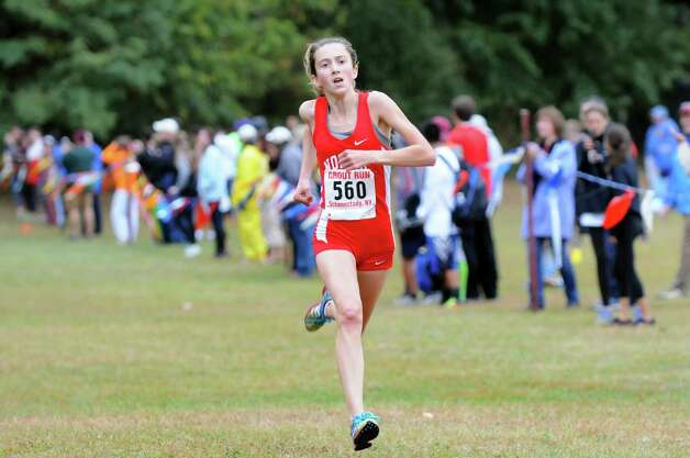 North Rockland's Alex Harris comes in first in the Girls' Division II cross country Grout Run on Saturday, Oct. 4, 2014, at Central Park in Schenectady, N.Y. (Cindy Schultz / Times Union) Photo: Cindy Schultz / 00028844A