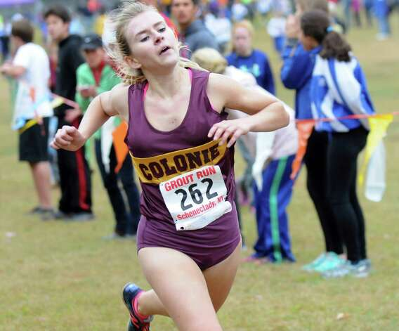 Colonie's Bellame Bower comes in fifth in the Girls' Division II cross country Grout Run on Saturday, Oct. 4, 2014, at Central Park in Schenectady, N.Y. (Cindy Schultz / Times Union) Photo: Cindy Schultz / 00028844A