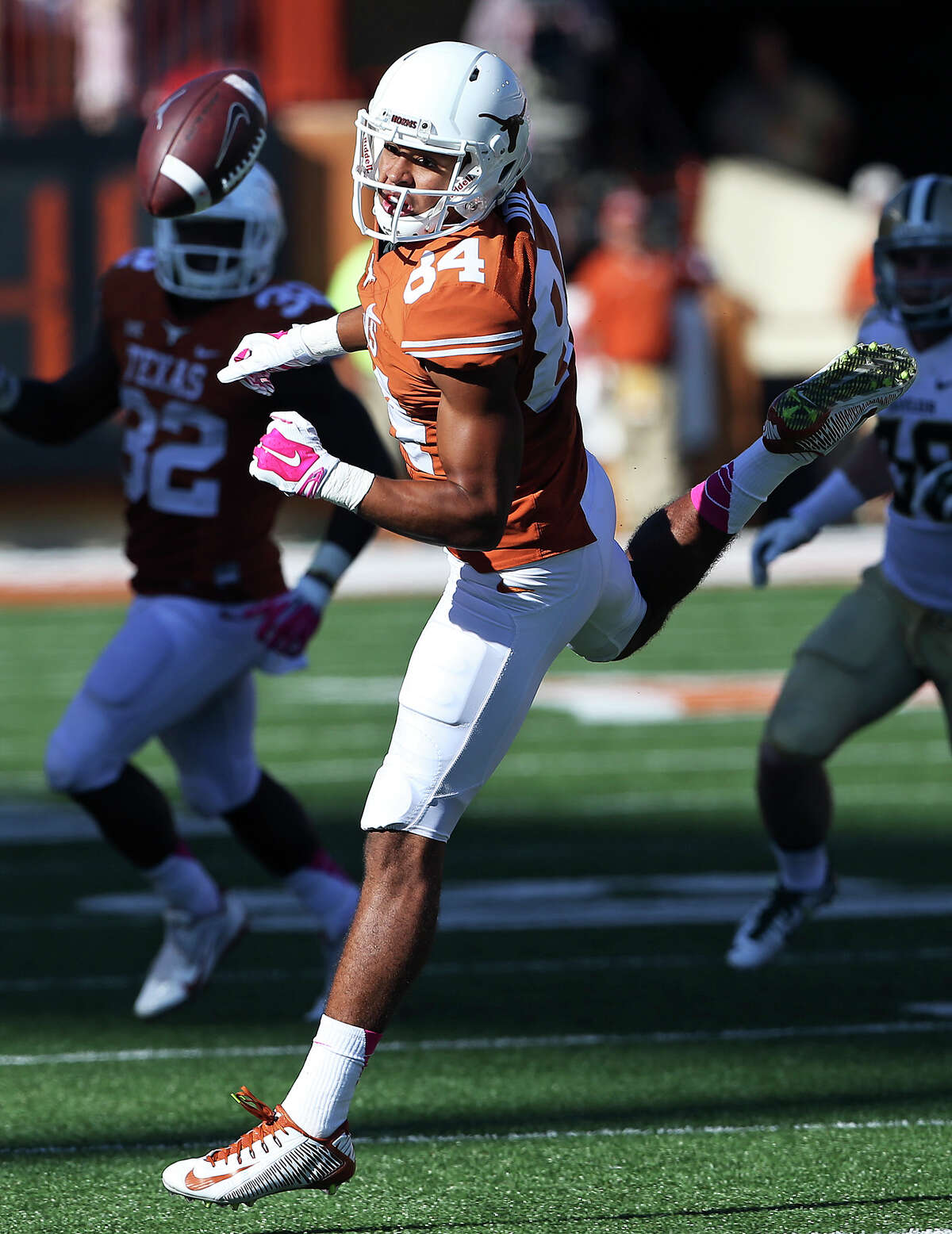 Longhorn receiver Lorenzo Joe watches the ball squirt away on a pass he could catch as UT hosts Baylor at Royal Memorial Stadium on October 4, 2014.