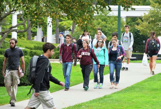Students make their way across the Union College campus Wednesday Oct. 1, 2014, in Schenectady, NY.  (John Carl D'Annibale / Times Union) Photo: John Carl D'Annibale / 00028847A