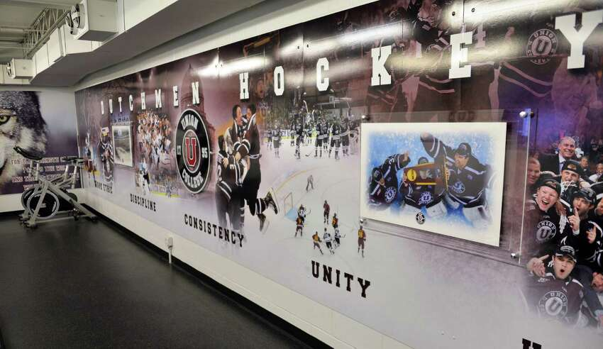 A new mural celebrating their NCAA hockey championship in the hockey team lounge at Messa Rink at Union College Wednesday Oct. 1, 2014, in Schenectady, NY. (John Carl D'Annibale / Times Union)