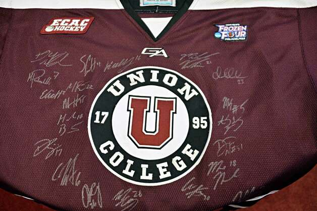 A jersey signed by the NCAA hockey championship team  at Union College Wednesday Oct. 1, 2014, in Schenectady, NY.  (John Carl D'Annibale / Times Union) Photo: John Carl D'Annibale / 00028847A