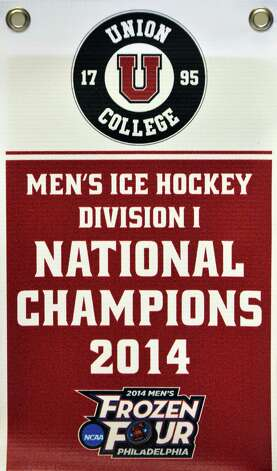 A replica of the banner celebrating their NCAA hockey championship at Union College Wednesday Oct. 1, 2014, in Schenectady, NY.  (John Carl D'Annibale / Times Union) Photo: John Carl D'Annibale / 00028847A