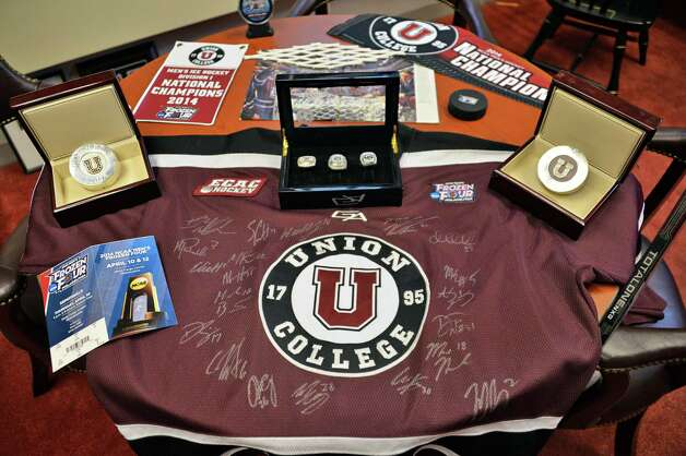 NCAA hockey championship memorabilia at Union College Wednesday Oct. 1, 2014, in Schenectady, NY.  (John Carl D'Annibale / Times Union) Photo: John Carl D'Annibale / 00028847A