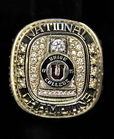 An NCAA hockey championship ring at Union College Wednesday Oct. 1, 2014, in Schenectady, NY.  (John Carl D'Annibale / Times Union) Photo: John Carl D'Annibale / 00028847A