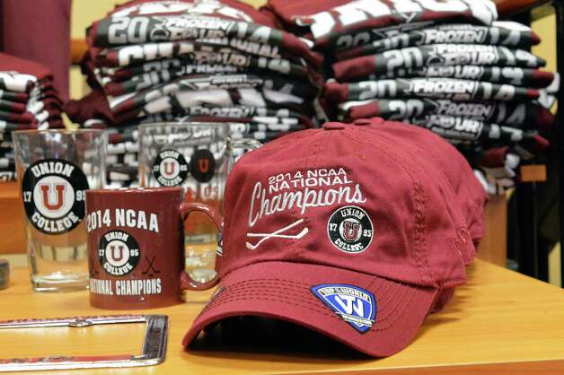 NCAA hockey championship items for sale at the Union College book store Wednesday Oct. 1, 2014, in Schenectady, NY.  (John Carl D'Annibale / Times Union) Photo: John Carl D'Annibale / 00028847A