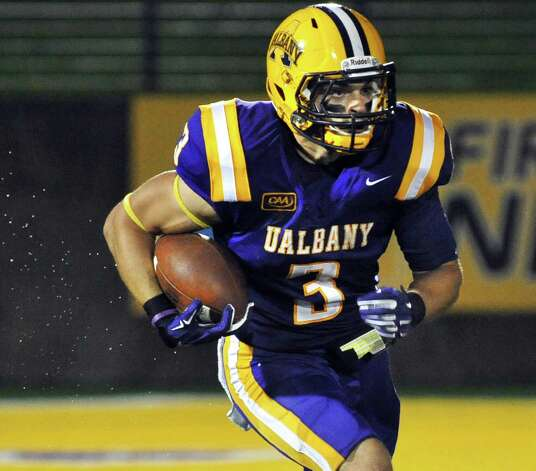 UAlbany's #3 Jake Meek during Saturday's Colonial Athletic Association game against James Madison at University at Albany's Bob Ford Field Oct. 4, 2014, in Albany, NY.  (John Carl D'Annibale / Times Union) Photo: John Carl D'Annibale / 00028860A