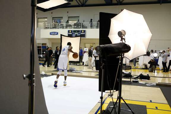 Golden State Warriors' Andre Iguodala is photographed on media day in Oakland, Calif. on Monday, September 29, 2014.
