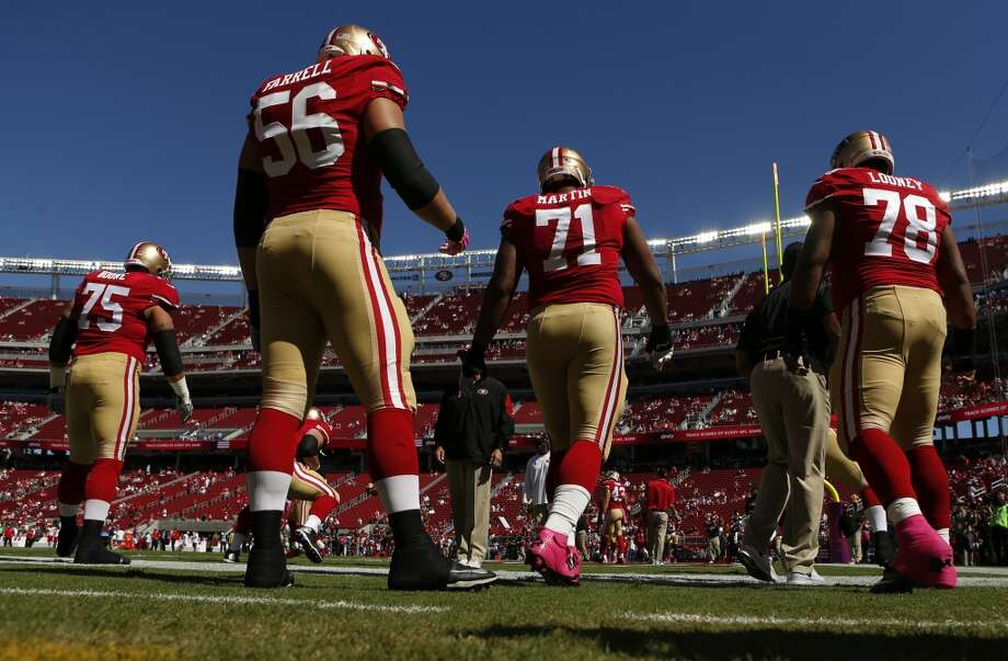 San Francisco 49ers'  Alex Boone (75), Dillon Farrell (56), Jonathan Martin (71) and Joe Looney (78) prepare to play Kansas City Chiefs in NFL game at Levi's Stadium in Santa Clara, Calif. on Sunday, October 5, 2014. Photo: Scott Strazzante, The Chronicle