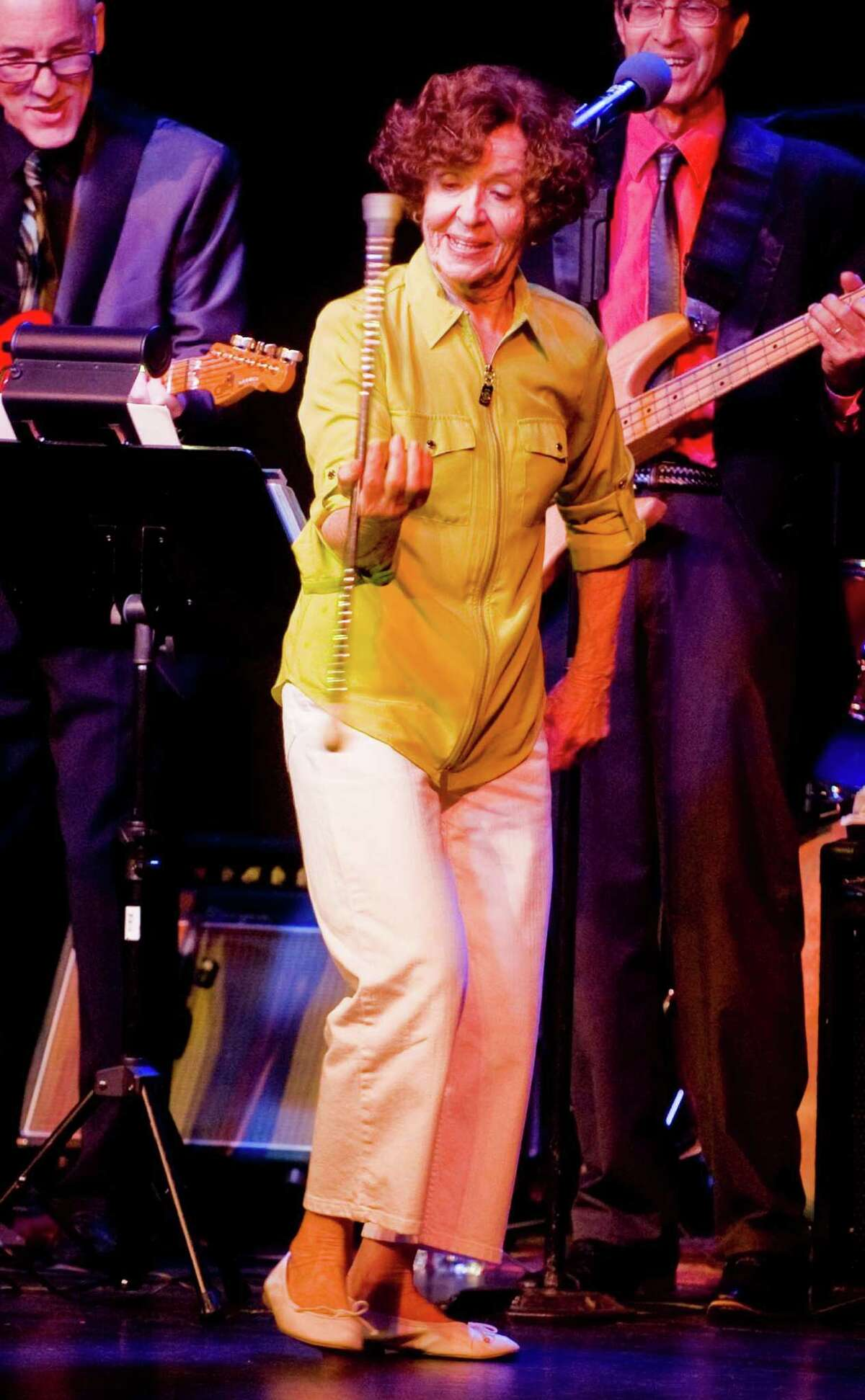 World champion baton twirler, 82 year old Bobbie Thurman Christos performing in The Great Danbury Fair Revue at The Palace on Main Street in Danbury. Bobbie also twriled her baton at the Danbury Fair in the 1940's. Sunday, Oct. 5, 2014