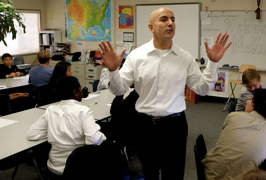 California GOP gubernatorial candidate Neel Kashkari visits an eighth-grade class at Westside Preparatory Charter School in North Highlands (Sacramento County) in September. Photo: Michael Macor / The Chronicle / ONLINE_YES