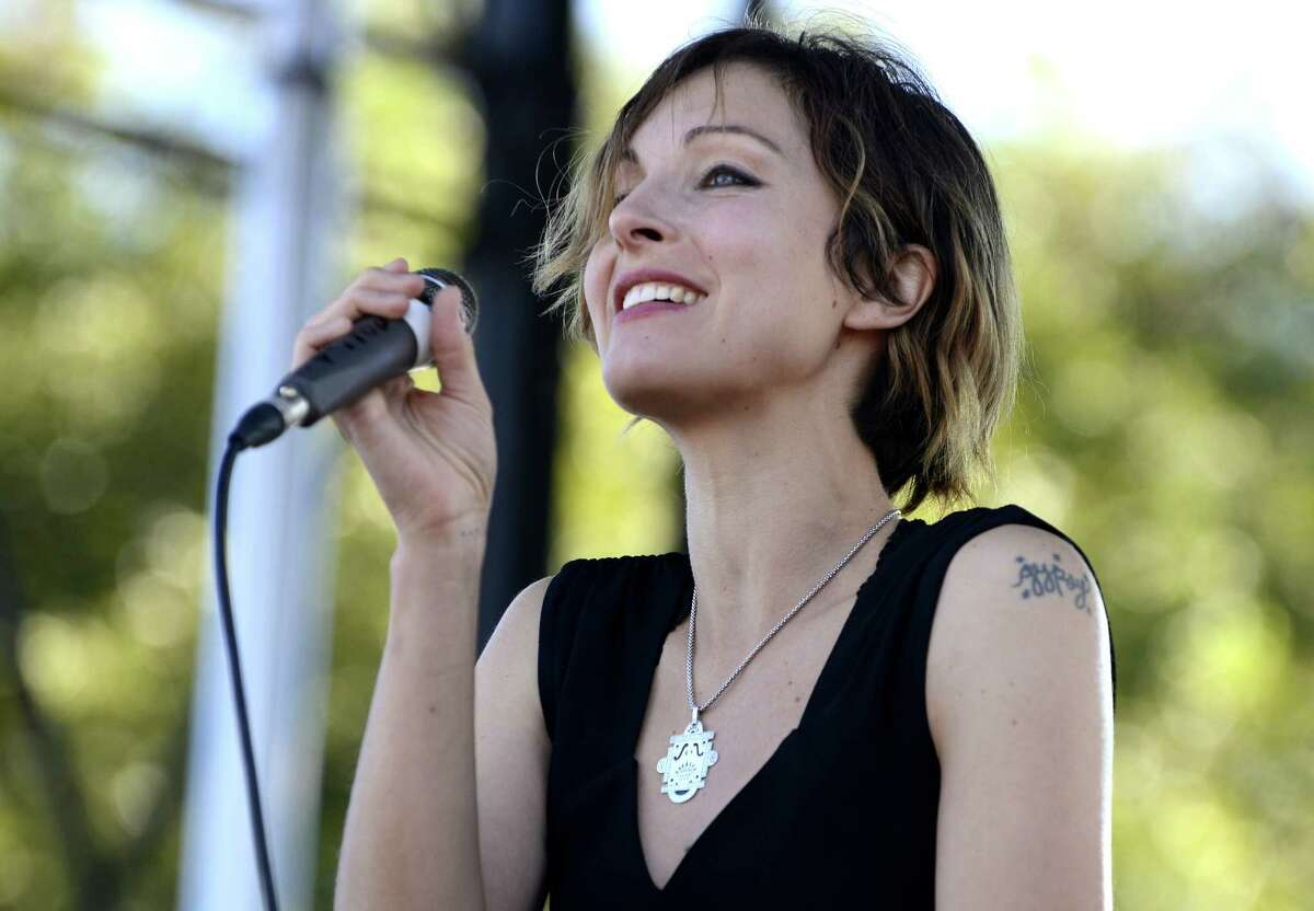 AUSTIN, TX - OCTOBER 04: Channy Leaneagh of Polica performs during the Austin City Limits Music Festival at Zilker Park on October 4, 2014 in Austin, Texas.