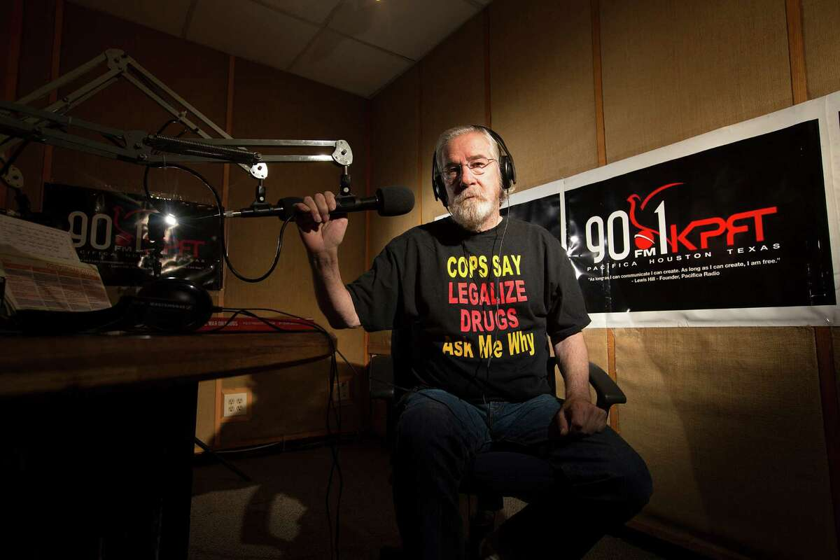 Dean Becker, 65, produces nine radio programs per week for the Drug Truth Network. He says he will see marijuana legalized in Texas in his lifetime.