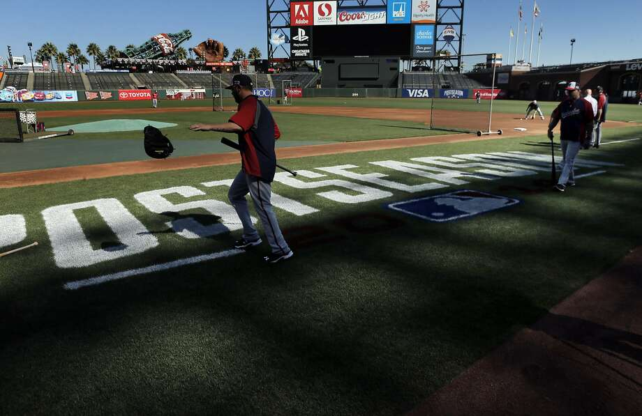 The Washington Nationals take batting practice during an optional workout at AT&T Park in San Francisco, on Sunday, October 5, 2014, as they prepared to play the Giants in Game 3 of the National League Division Series on Monday. Photo: Carlos Avila Gonzalez, The Chronicle