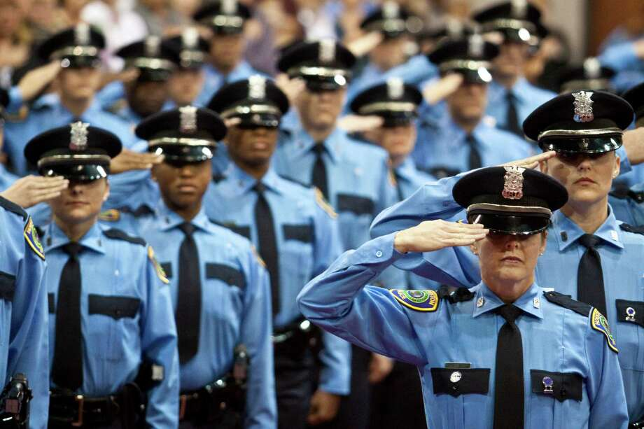The last dozen cadet classes at the Houston Police Department are slightly more diverse than its overall headcount. Photo: Eric Kayne, Freelance / Freelance