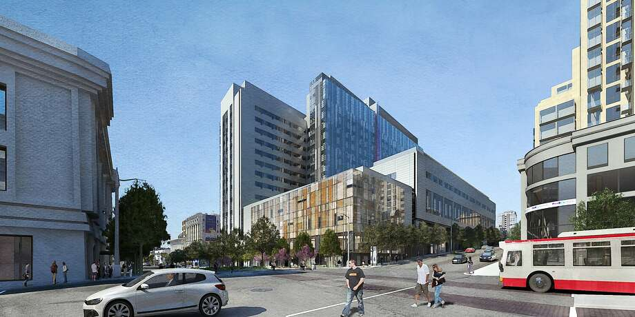 Proposed hospital, Campus at Van Ness & Geary (view from Van Ness at Post) Photo: SmithGroup Architects