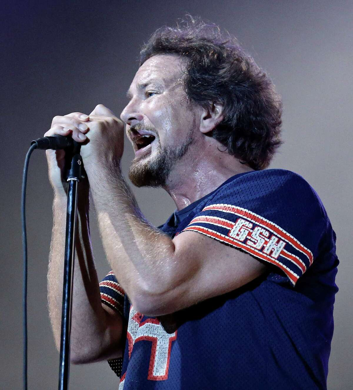 Pearl Jam's Eddie Vedder performs with the band Sunday Oct. 5, 2014 during the Austin City Limits Music Festival at Zilker Park in Austin, Tx.