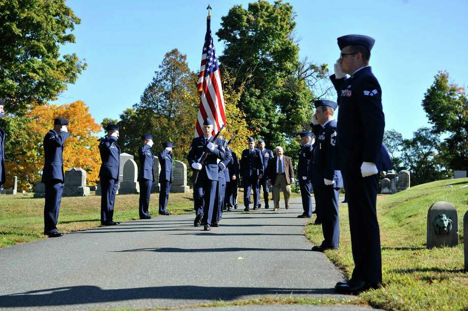 Color Guard members of the New York Air National Guard march in at the beginning of a Presidential Wreath Laying Ceremony at the grave of Chester Arthur, 21st U.S. President, on Sunday, Oct. 5, 2014, at Albany Rural Cemetery in Menands, N.Y. Arthur, who was a Vice President and a President of the U.S., was born in Fairfield, VT and was a graduate of Union College. Vice President Arthur became President in 1881 after President James Garfield was assassinated.  (Paul Buckowski / Times Union) Photo: Paul Buckowski / 00028878A