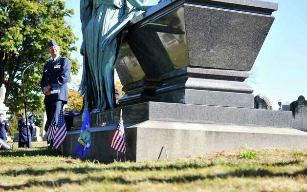 Brigadier General Anthony German, Chief of Staff of the New York Air National Guard, talks about the life of President Chester Arthur, during a Presidential Wreath Laying Ceremony at the grave of Chester Arthur, 21st U.S. President, on Sunday, Oct. 5, 2014, at Albany Rural Cemetery in Menands, N.Y. Arthur, who was a Vice President and a President of the U.S., was born in Fairfield, VT and was a graduate of Union College. Vice President Arthur became President in 1881 after President James Garfield was assassinated.  (Paul Buckowski / Times Union) Photo: Paul Buckowski / 00028878A
