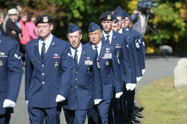 Members of the New York Air National Guard march out at the end of a Presidential Wreath Laying Ceremony at the grave of Chester Arthur, 21st U.S. President, on Sunday, Oct. 5, 2014, at Albany Rural Cemetery in Menands, N.Y. Arthur, who was a Vice President and a President of the U.S., was born in Fairfield, VT and was a graduate of Union College. Vice President Arthur became President in 1881 after President James Garfield was assassinated.  (Paul Buckowski / Times Union) Photo: Paul Buckowski / 00028878A
