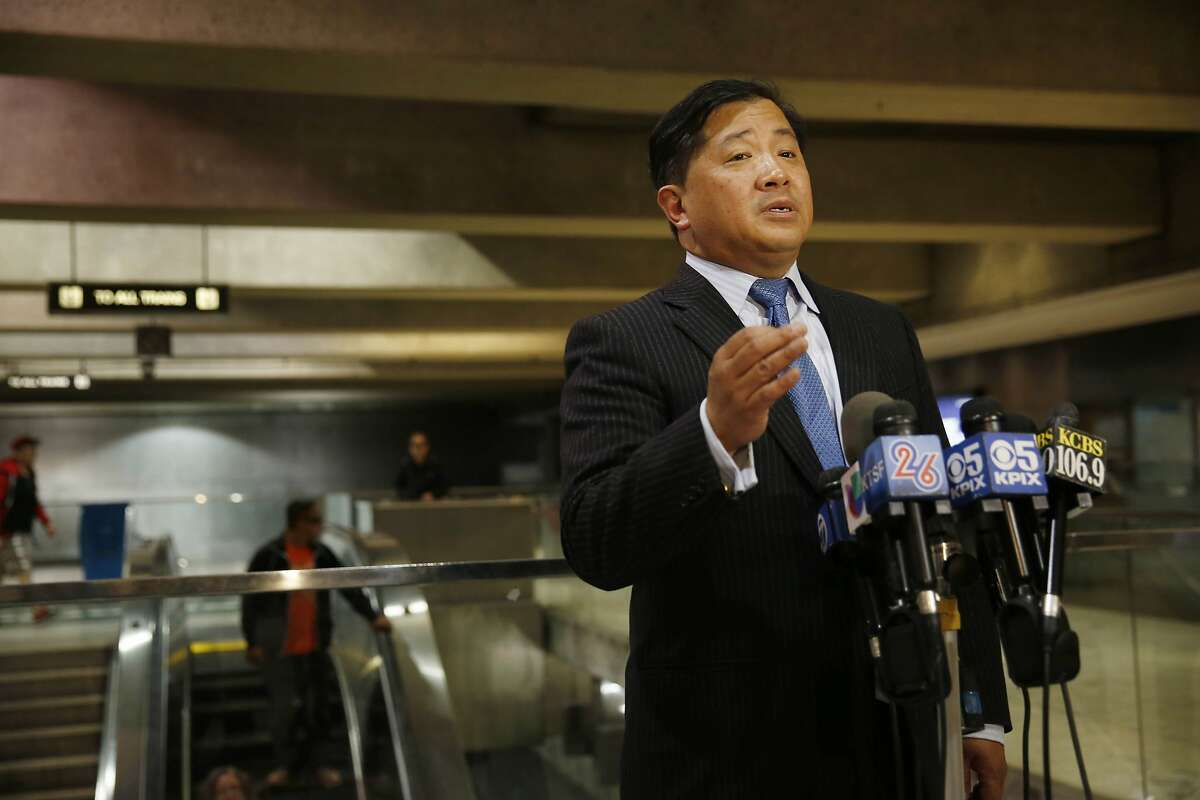 James Fang, BART director, speaks during a press conference on BART's earthquake preparedness at the Embarcadero BART station on Monday, August 25, 2014 in San Francisco, Calif.
