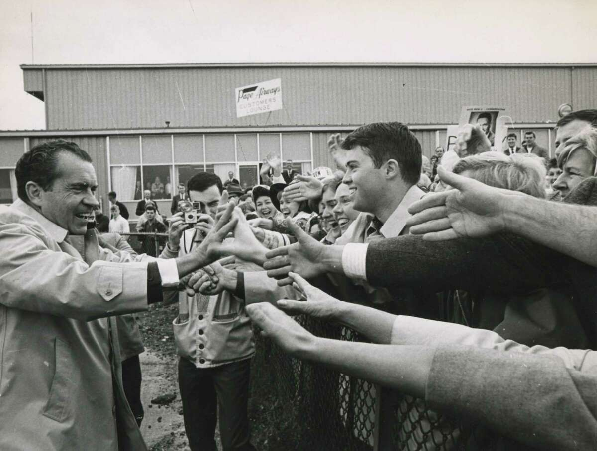 Richard Nixon greets supporters at Albany County Airport during an October 1968campaign stop in Albany, N.Y. (Arnold Le Fevre/Times Union archive)