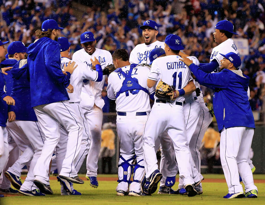 The Royals Gather To Celebrate After Closer Greg Holland Struck Out Mike Trout Complete A