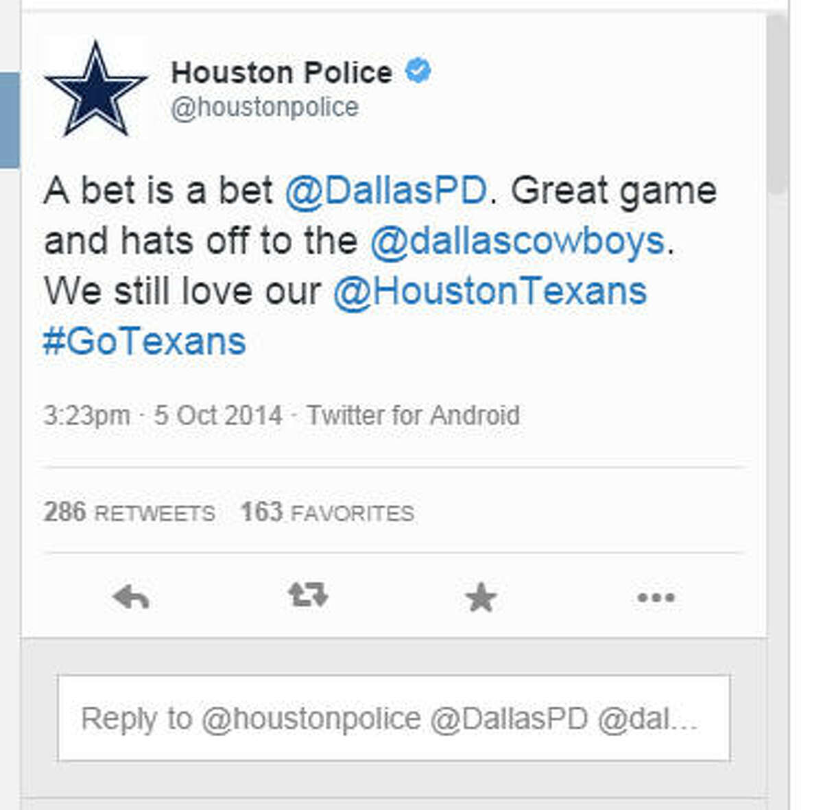 HPD congratulated the Dallas Police Department on the Cowboys' victory over the Texans, Oct. 5, 2014, at Arlington's AT&T Stadium. (Screen shot)Photos: See how the Twitter bet came to be with some PD-vs-PD Twitter trash talking ...
