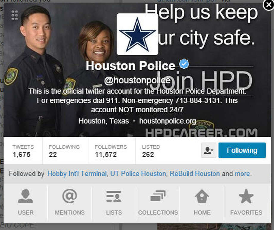 After losing a friendly bet over the Dallas Cowboys-Houston Texans game on Oct. 5, 2014, the Houston Police Department changed its Twitter profile for 24 hours, posting a big blue Cowboys star on its profile page. (Screen shot)