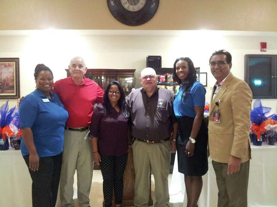 Village Creek Rehab and Nursing Center, 705 N. Main in Lumberton, celebrated a ribbon cutting on Sept. 23. L-R: April Allen, Director of Nursing; Mayor Don Surratt; Meera Riner, Chief of Operations; Chief Danny Sullins; Melissa Armstrong, Administrator; Dr. Muhammad Aziz.   Dulce Browning/The Hardin County News