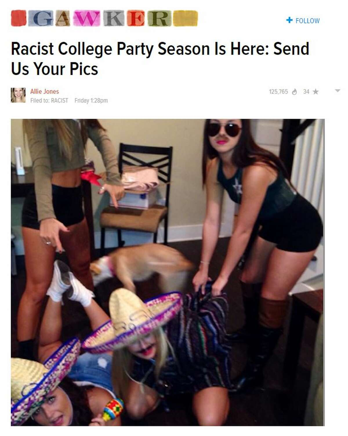 """Officials at Texas Tech University are investigating photos of women who are allegedly part of the university's members of Zeta Tau Alpha international women's fraternity holding a """"Border Patrol"""" party in photos leaked anonymously to Gawker."""