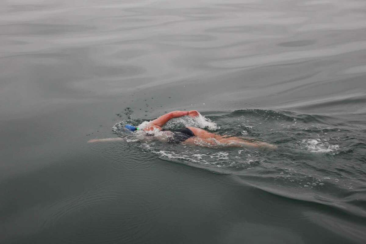 Kim Chambers swam across the North Channel from northern Ireland to Scotland, on Sept. 2, 2014. It took her 13 hours and 6 mins in 14 degree Celsius water.
