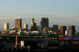 ATLANTA - APRIL 6:  The Atlanta skyline sits beyond Turner Field before the start of the New York Mets versus Atlanta Braves during the Braves home season opening game at Turner Field April 6, 2007 in Atlanta, Georgia.