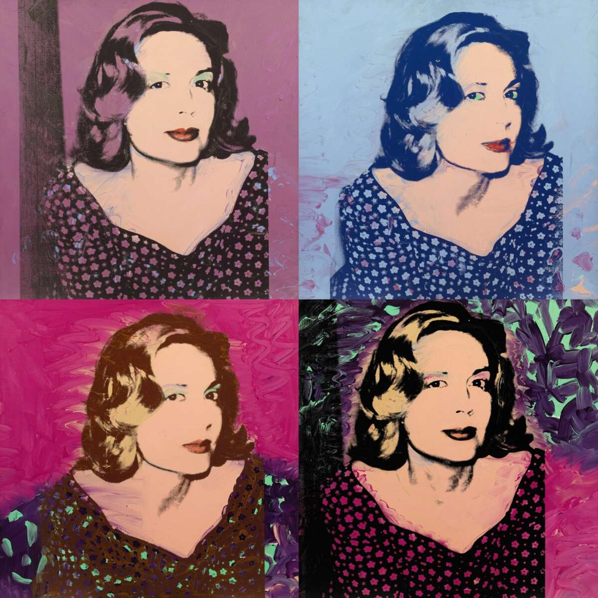 """This undated photo provided by Sotheby'?'s shows Andy Warhol'?'s """"?""""A Group of Four Portraits of Sao Schlumberger."""" Sotheby?'s predicts the 1974 acrylic and silkscreen ink on canvas, from the collection of renowned art benefactors Pierre and Sao Schlumberger, could be $2-3 million when it is auctioned in November. The Schlumbergers were the first patrons to commission Warhol for a silkscreen portrait. (AP Photo/Sotheby?''s)"""