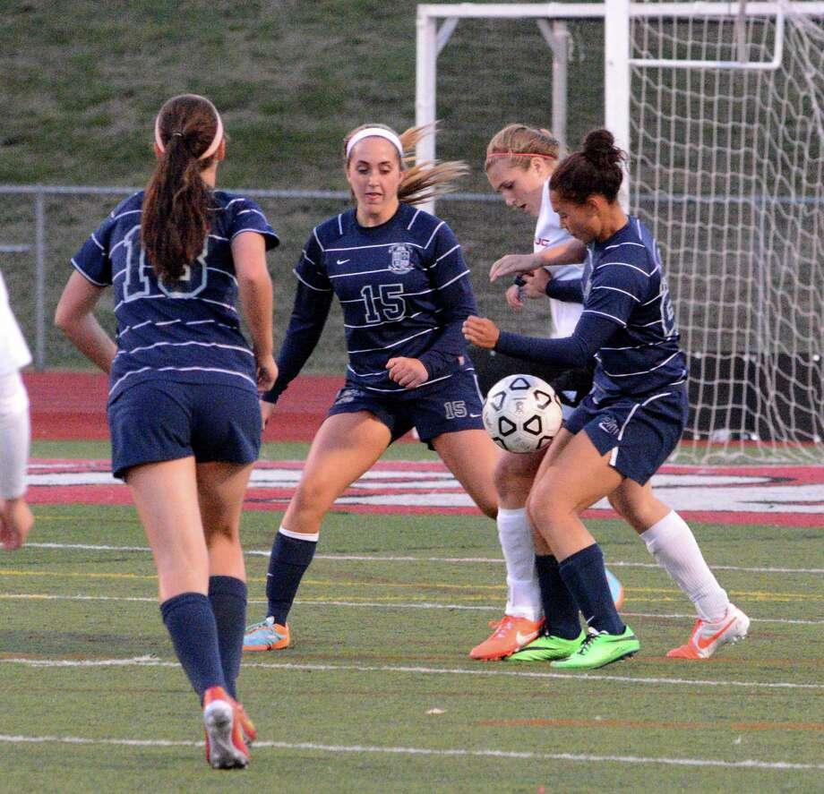 Immaculate High School girls soccer team played against Pomperaug High School at Pomperaug on Monday,  October 6, 2014. Photo: Lisa Weir / The News-Times Freelance